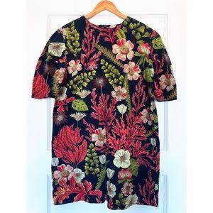 H&M tropical puff sleeve shift dress